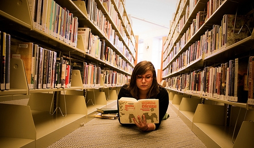 College girl studying in the library