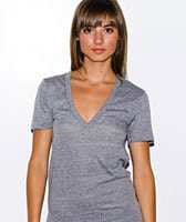 American Apparel Grey Deep V Neck Tee