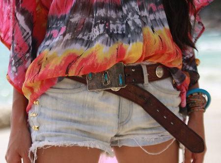 Girl wearing denim cutoffs