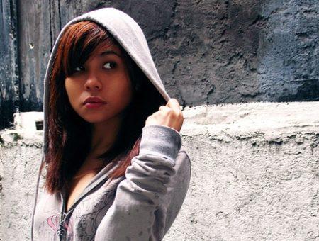 Girl wearing hoodie