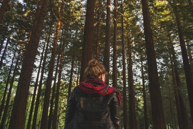 girl wearing plaid scarf