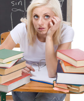 College girl with senioritis