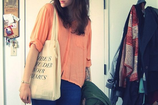 Girl with tote bag