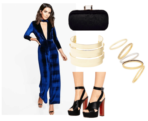 """Outfit inspired by Sophia from Girlboss: Black platform sandals, blue velvet jumpsuit, black """"grab and go"""" clutch, layered cuff bracelet, gold stackable ring set"""