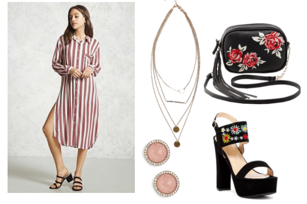 Outfit inspired by Sophia from tv show Girlboss: striped shirt dress, pink stone stud earrings, embroidered block heel sandal, coin layered necklace, embroidered floralcrossbody bag