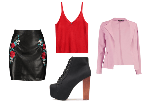 Outfit inspired by Sophia from tv show Girlboss: Embroidered floral leather skirt, red tank top, Jeffrey Campbell Lita platform boots, pink blazer