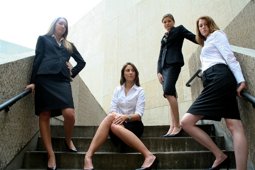 Girls in business attire