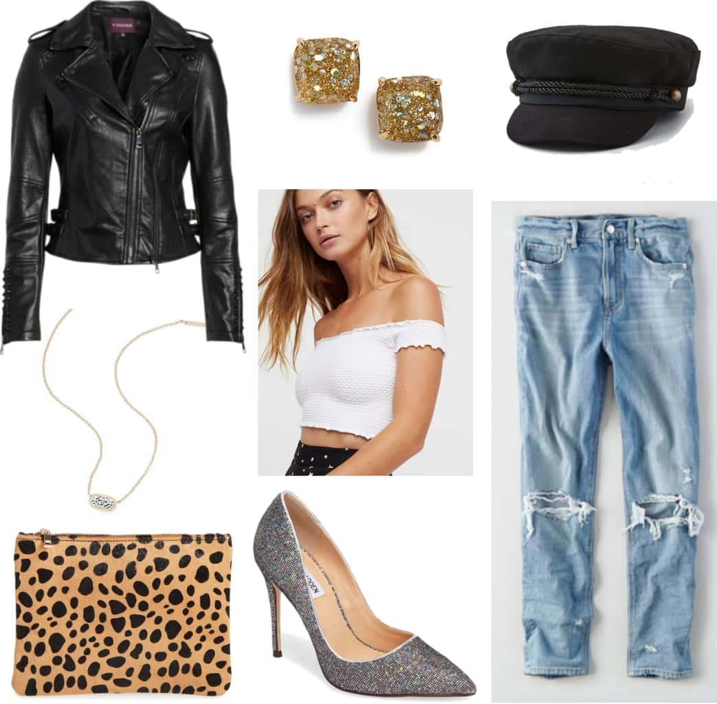 Girls night out outfit with leather jacket, off the shoulder crop top, baker boy cap, mom jeans, sparkle heels, leopard clutch, glittery jewelry