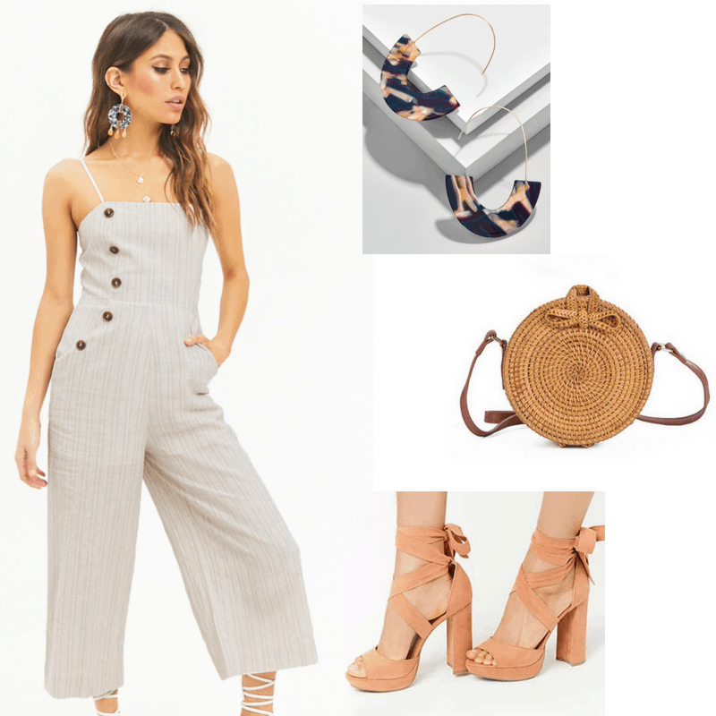 Rock a night out with your girl pals in this structured beige romper, woven circle bag, bold tortoise statement earrings, and heels fit for a ballerina.