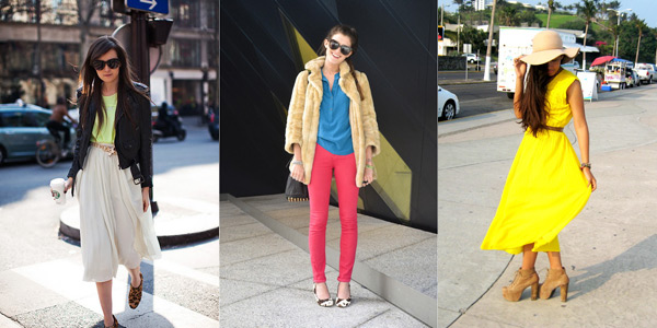 Fashion bloggers wearing the neon and nude trend