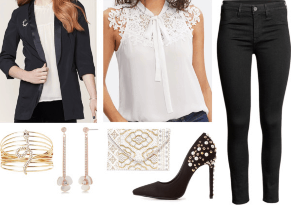 holiday party outfit ideas with jeans