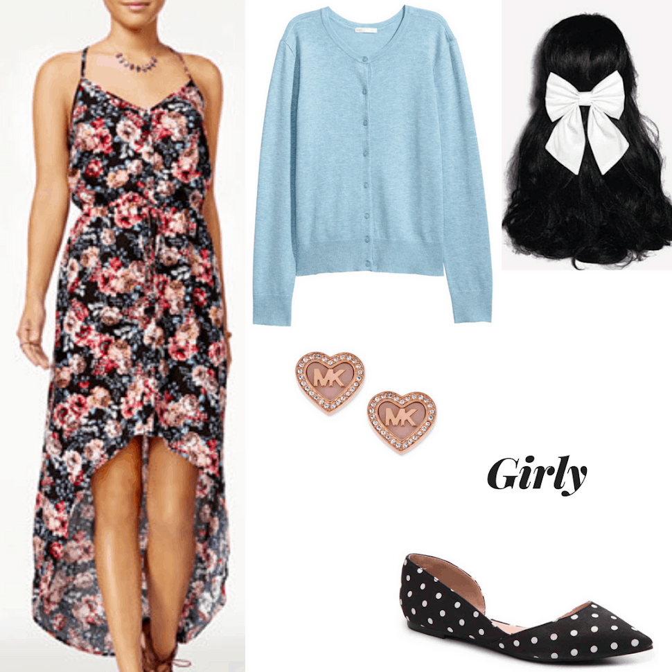 Girly finals week outfit with floral high-low midi dress, blue cardigan, heart shaped studs, hair bow, and polka dot flats