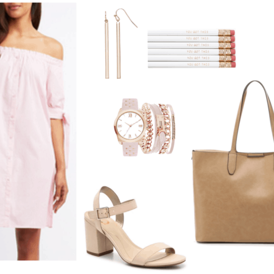 "What to wear on your first day back to class outfit 1: girly girl outfit for college with pink off-the-shoulder dress, nude block heels, rose gold and pink watch and bracelet set, simple gold bar earrings, oversized tan tote bag, ""You Got This"" pencils"