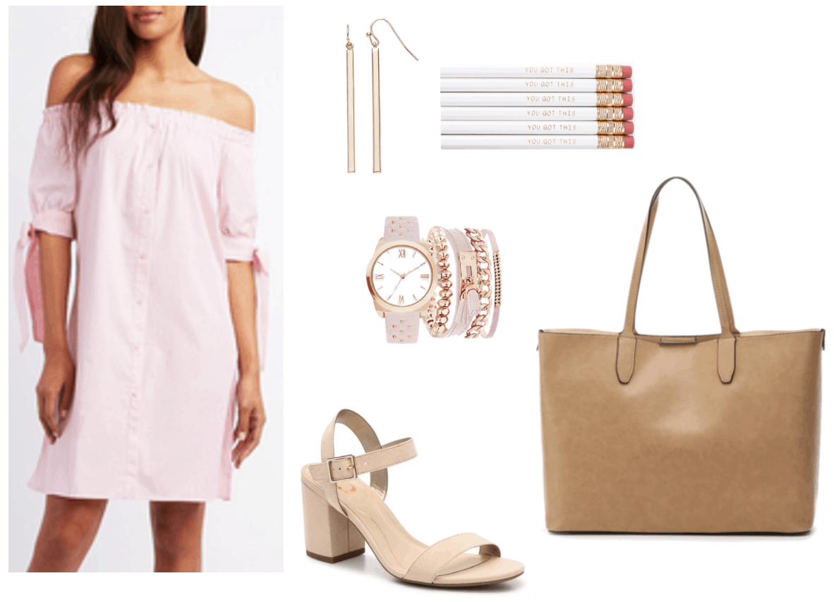 What to wear on your first day back to class outfit 1: girly girl outfit for college with pink off-the-shoulder dress, nude block heels, rose gold and pink watch and bracelet set, simple gold bar earrings, oversized tan tote bag,