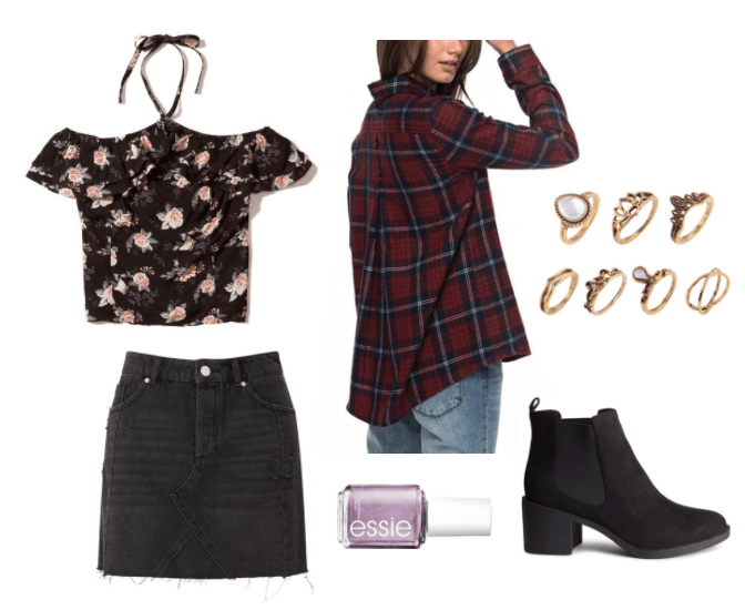 Outfit inspired by Essie's 90s nail polish collection: Outfit inspired by The Craft with black floral off shoulder top, black denim skirt, plaid shirt, layered rings, chunky heel ankle booties