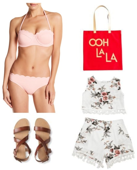 Beach day outfit ideas: Girly outfit for a beach day with pink scalloped bikini, two-piece crop top and shorts set in white floral print, Ooh La La red tote bag, brown sandals