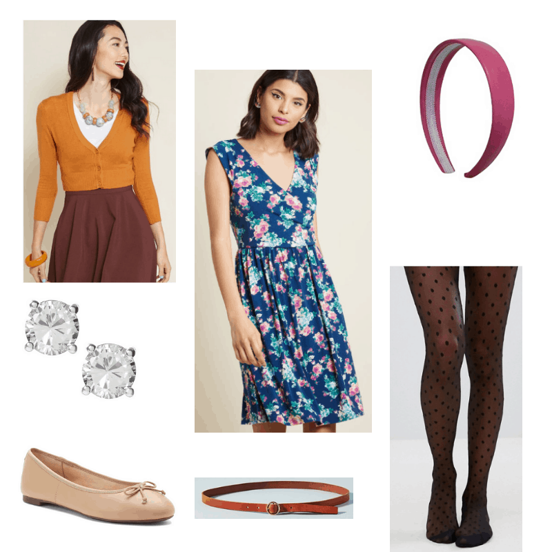 Outfit with orange cardigan, floral dress, polka dot tights, pink headband, skinny belt, ballet flats, and diamond studs