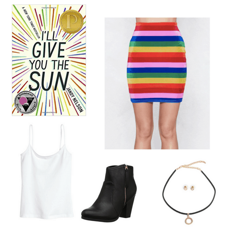 An outfit for I'll Give You the Sun, featuring a striped skirt, white tank top, black boots and black choker set.