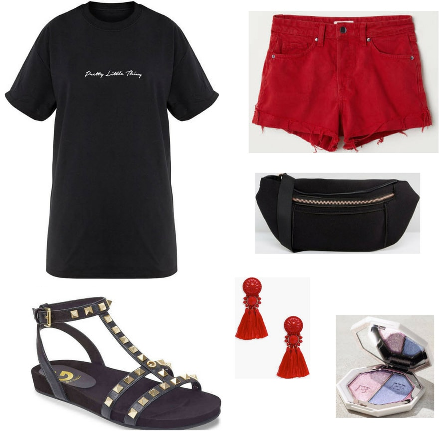 Gladiator sandals outfit for daytime: Black studded gladiator sandals, graphic tee shirt, red ripped denim shorts, tassel earrings, fanny pack