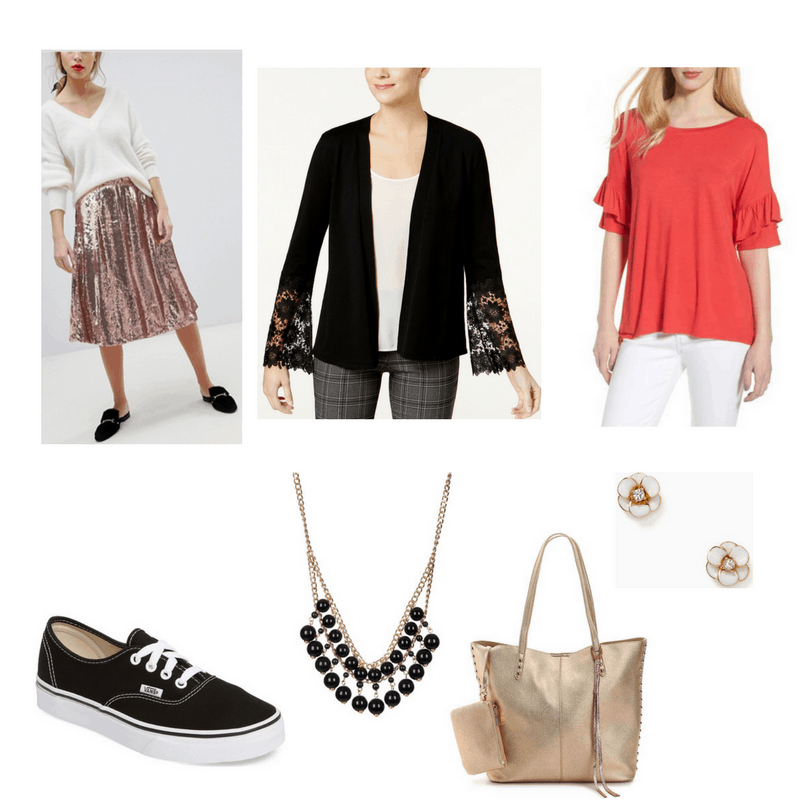 Glam FInals Outfit with sequin skirt, lace cardigan, ruffle sleeve tee, vans, necklace, earrings, and metallic tote bag