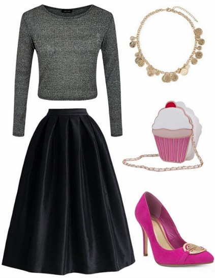 Glam holiday look black pink