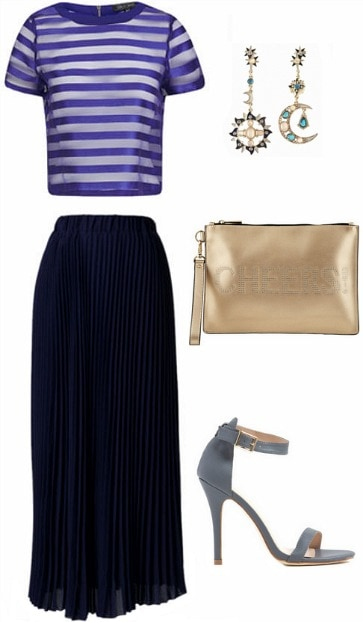 Glam holiday look blue gold