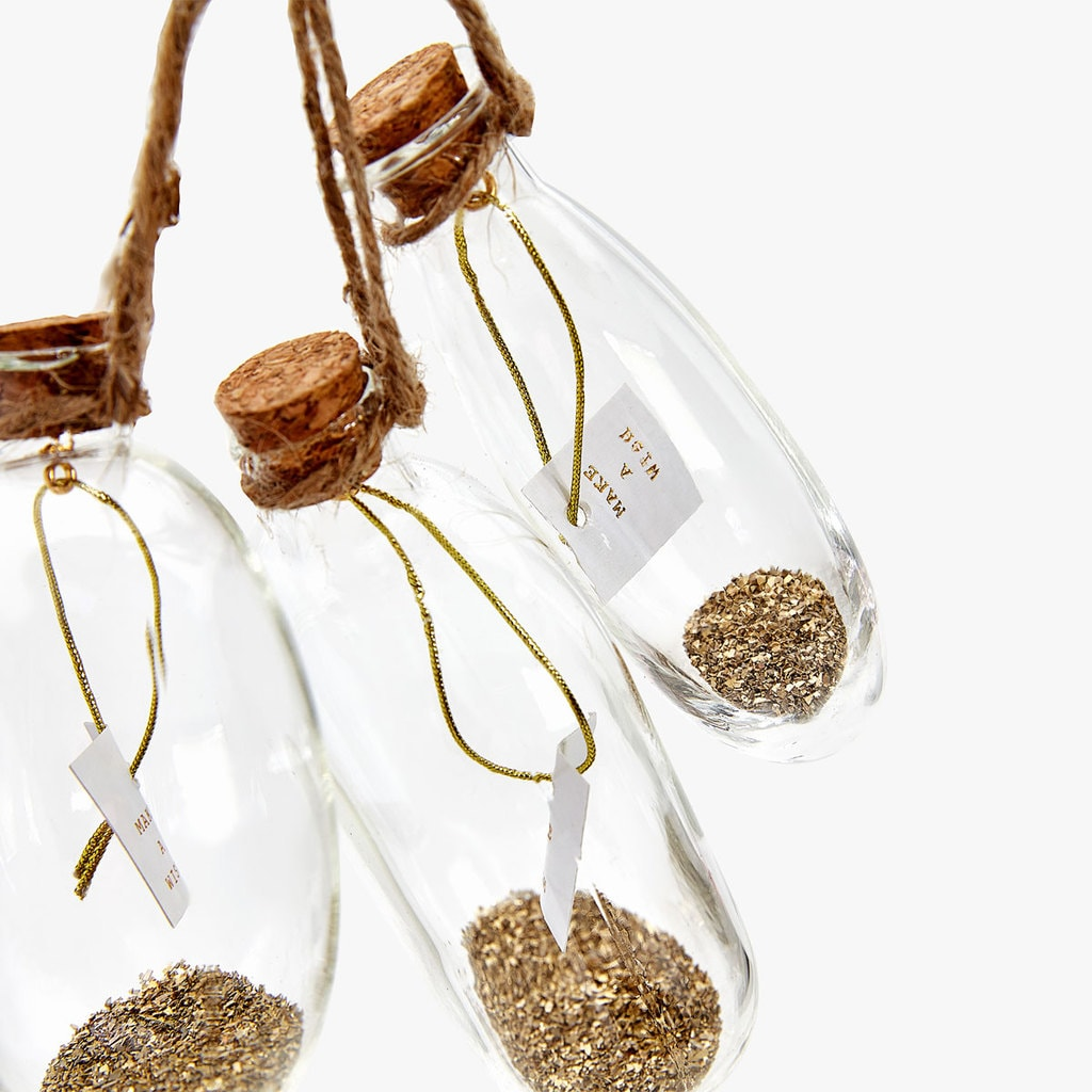 hanging bottles with glitter