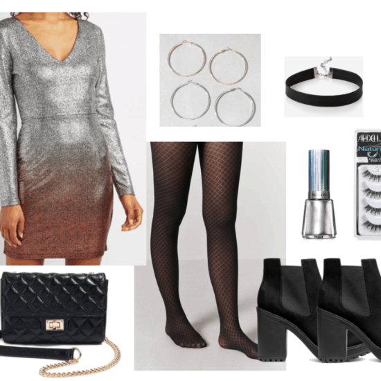 Disco outfit one including long-sleeve glitter ombré dress and fishnet stockings.