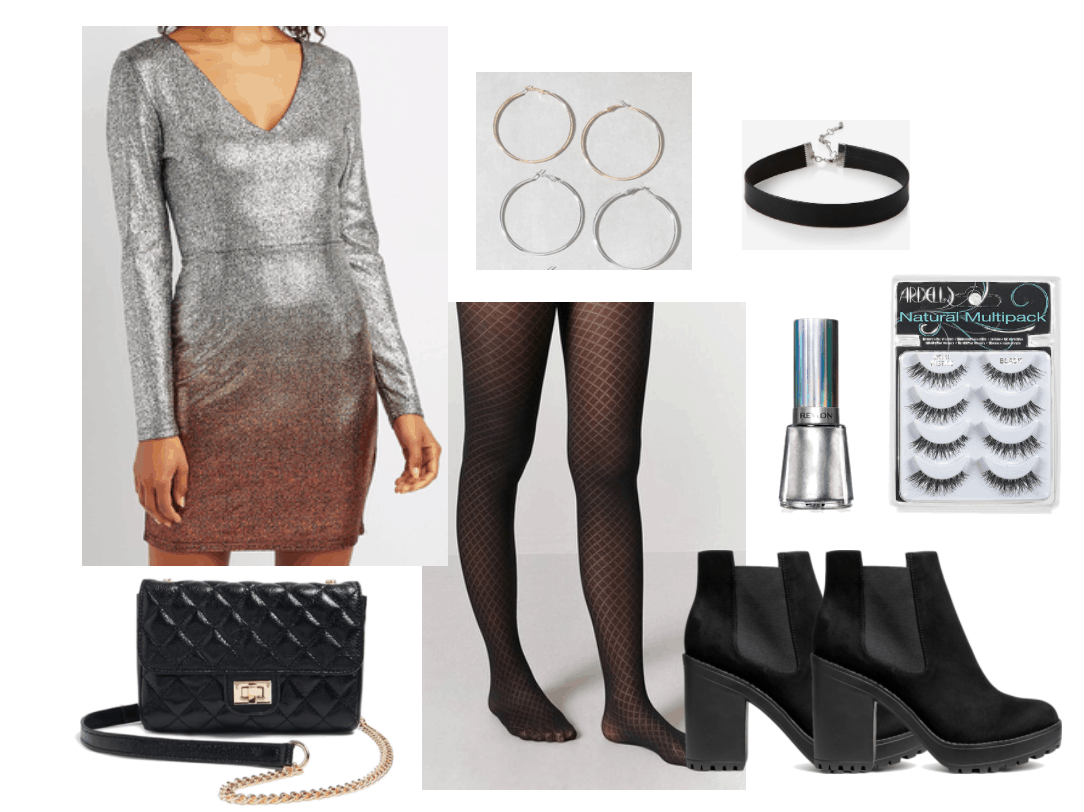 be7895be Disco outfit one including long-sleeve glitter ombré dress and fishnet  stockings.