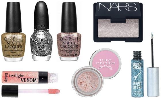 Glitter nail polish and makeup