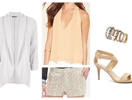 Glitter shorts spring summer date night outfit