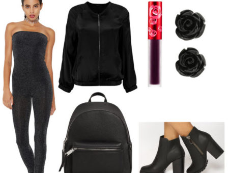 Glitter jumpsuit outfit for class with black glitter jumpsuit, black satin bomber jacket, black chunky heel ankle boots, black mini backpack, black rose earrings and dark lipstick