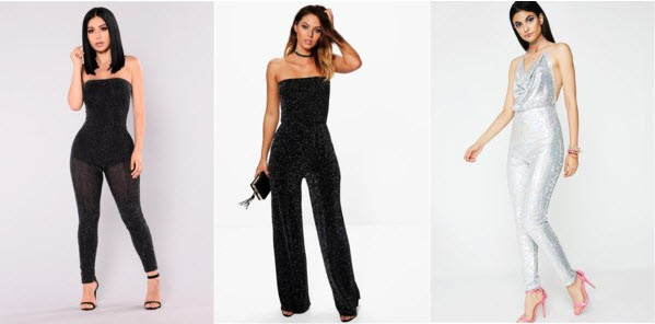 3 glitter jumpsuits from Fashion Nova, Boohoo, & Dolls Kill.