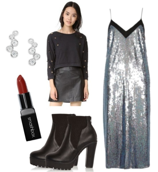 sequin slipdress outfit
