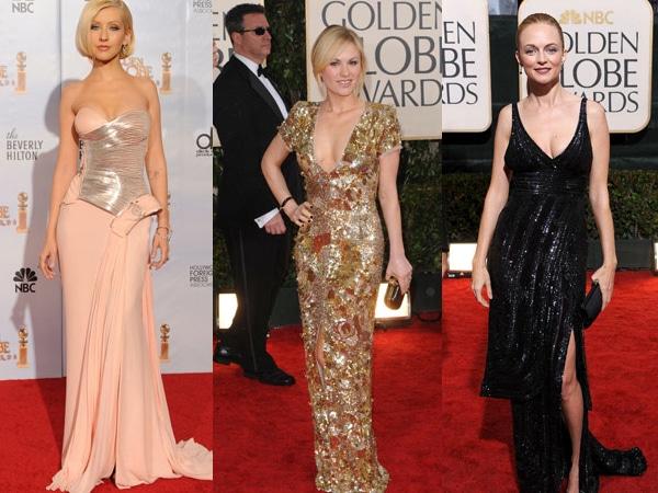 Celebs at the Golden Globes wearing metallic dresses