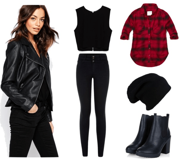 Go all out with a leather jacket in this rebellious outfit