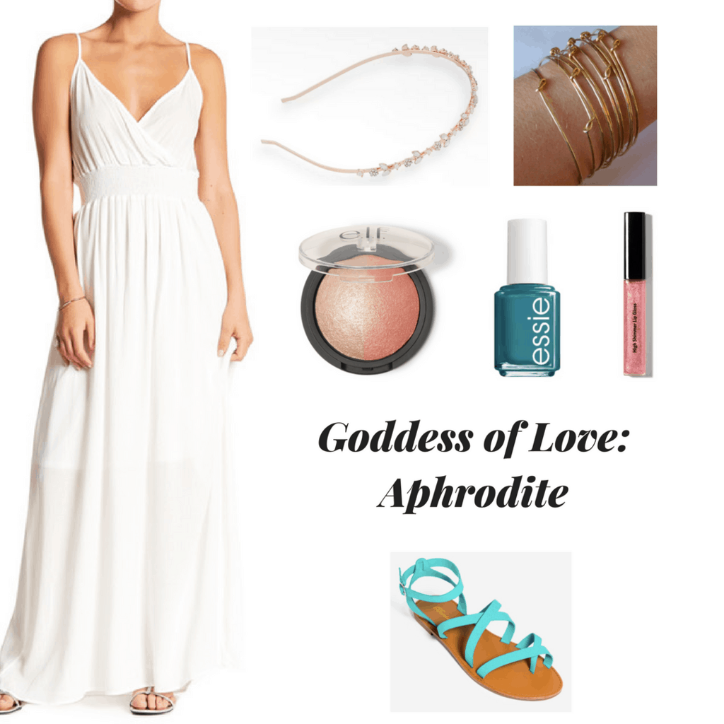 white maxi dress rose gold flower headband gold stacked bangles highlighter blush combo turquoise nail polish romantic lips turquoise strappy sandals outfit inspired by greek mythology outfit inspired by greek goddesses goddess of love aphrodite aphrodite inspired outfit