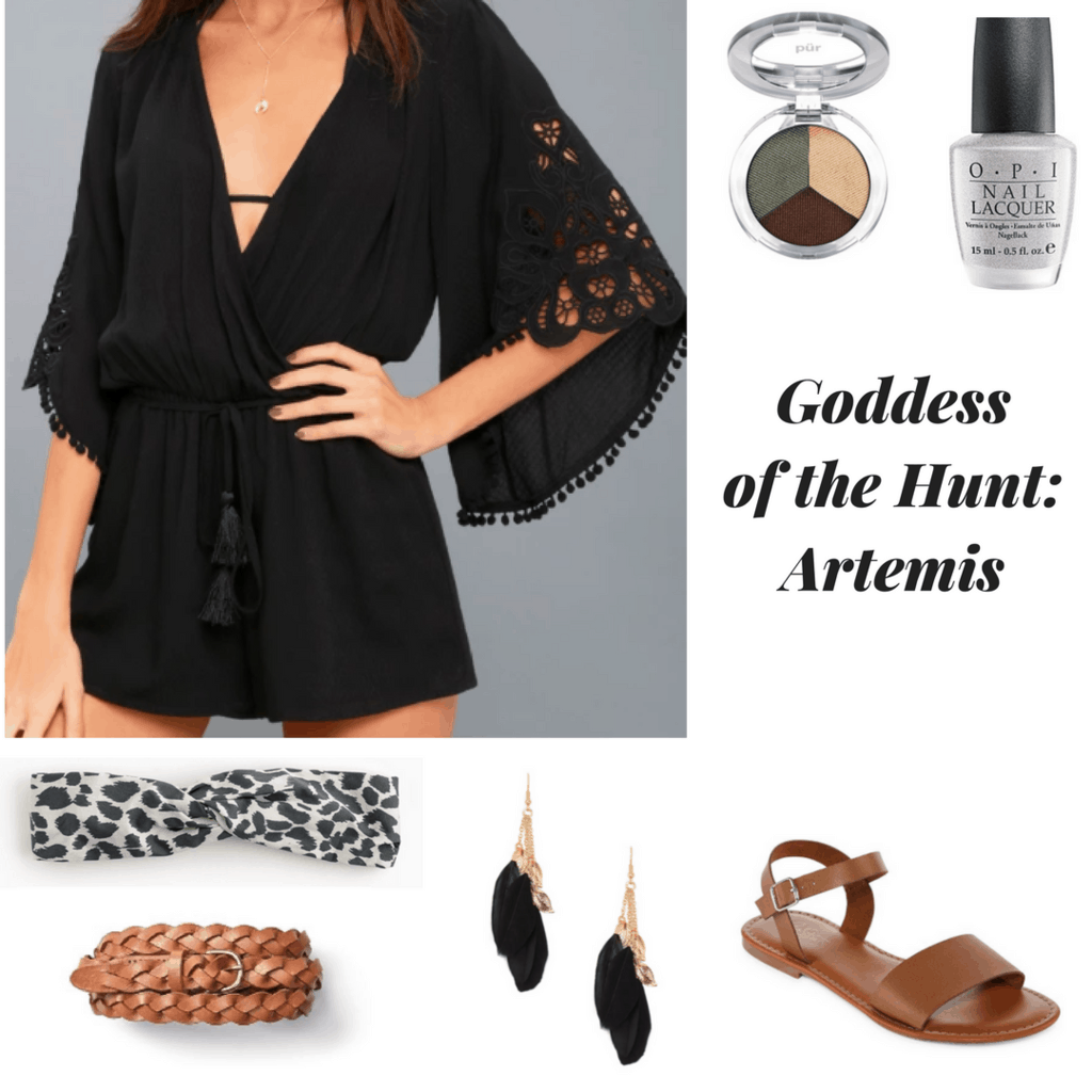 black boho chic romper earthy eyeshadow silver nail polish leopard headwrap braided belt feather earrings brown sandals inspired by greek mythology inspired by greek goddesses artemis inspired outfit goddess of the hunt artemis
