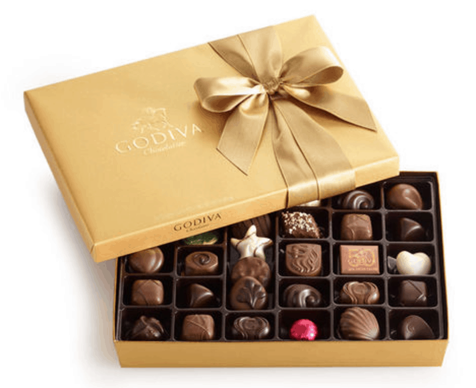 Godiva box of chocolates with a gold box and bow