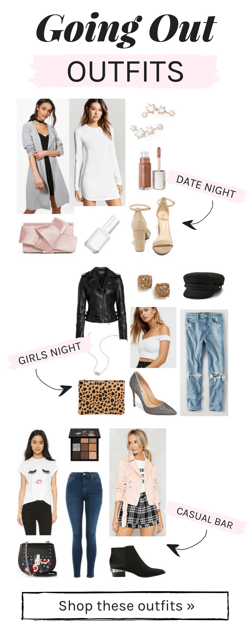 Going out outfits: Outfit ideas for date night, casual bar, and girls night out, plus more outfits for college girls going to parties