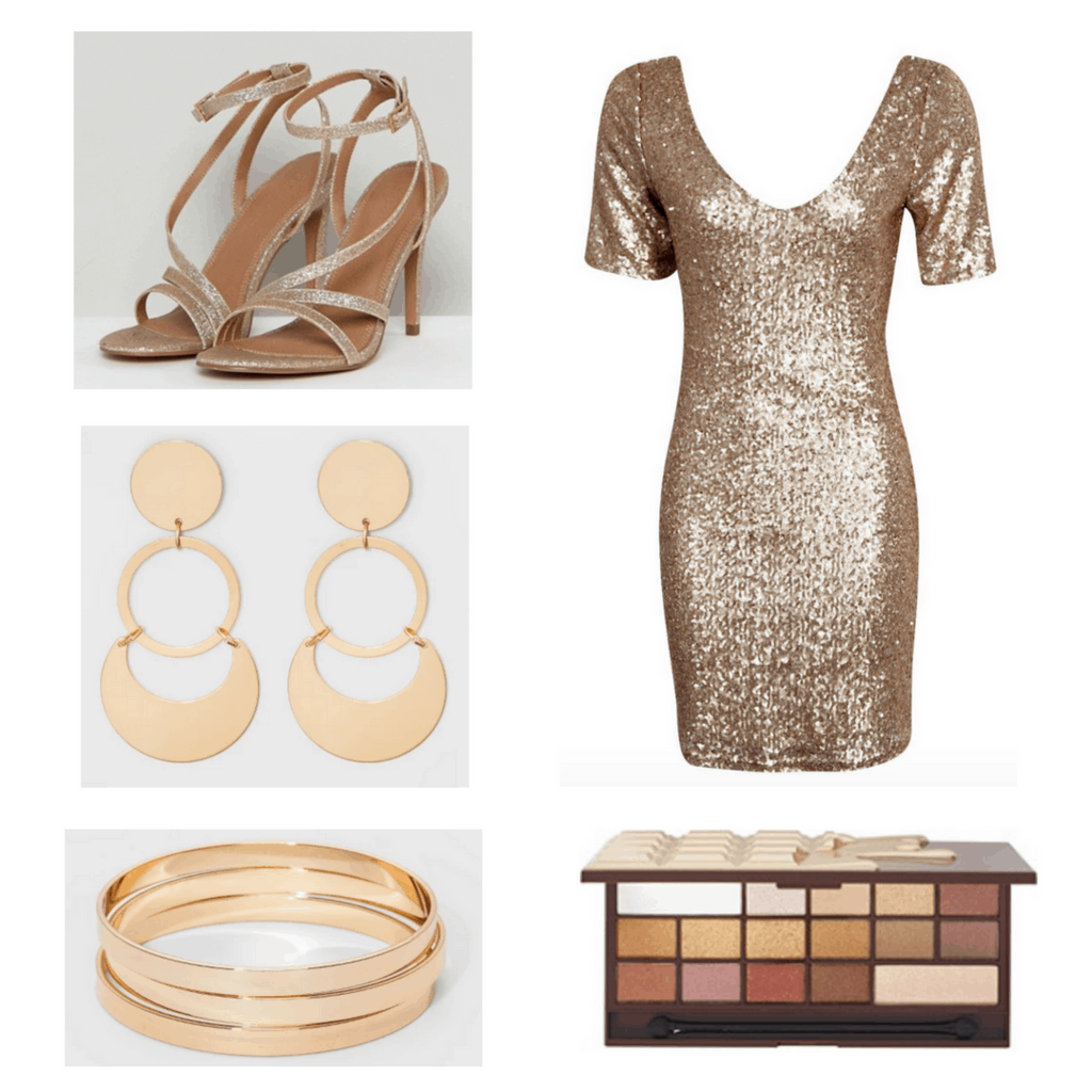 Gold dress with gold heels, earrings, bracelets, and eyeshadow palette