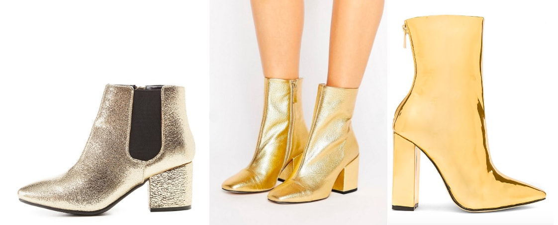 Gold ankle booties trend: dusty gold booties from Charlotte Russe, bright gold metallic square-toed ankle booties from ASOS, and reflective gold heeled pointed-toe ankle booties from Revolve.