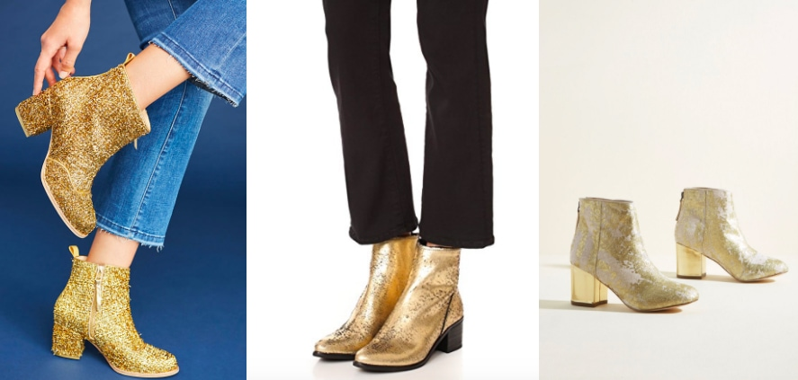 Gold bootie trend (photos from left to right): gold glitter chunky-heeled Bill Blass booties from Anthropologie, Dolce Vita gold ankle booties from Shopbop, and metallic gold heeled booties from Modcloth.