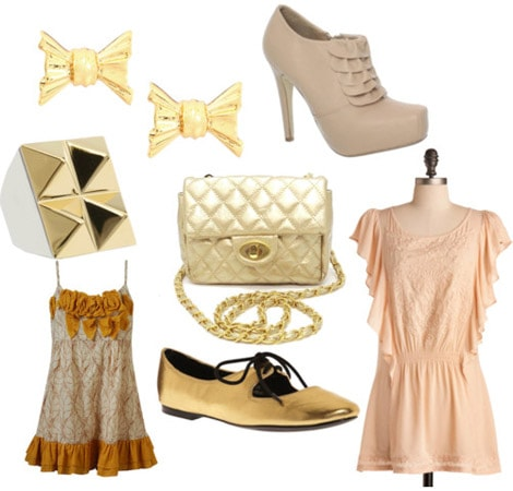 Gold clothing and accessories