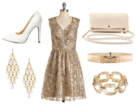 fancy gold dress outfit