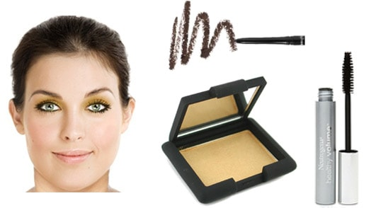 A gold eyeshadow look