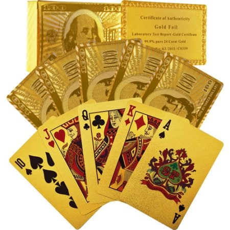 Best gifts for friends: Gold foil playing cards