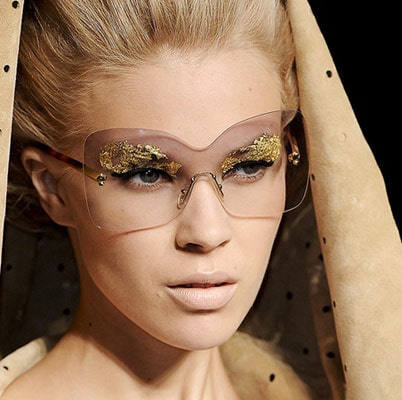 Gold Leaf eye makeup at Fendi Spring 2012