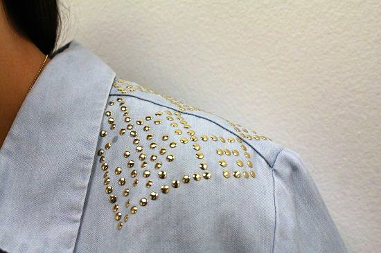 gold studded chambray top