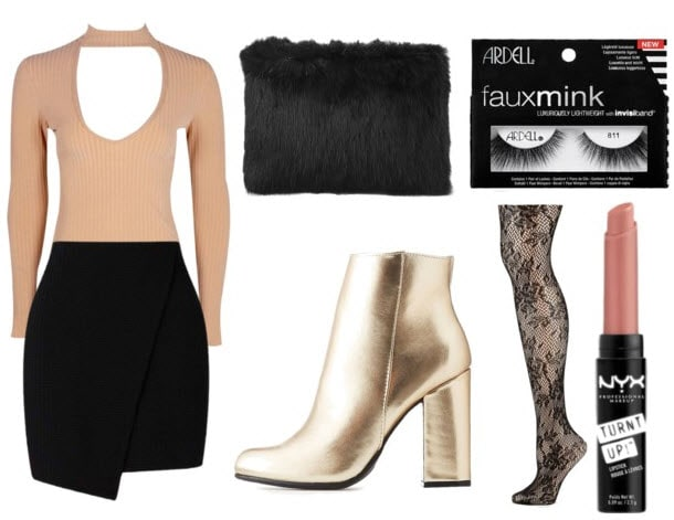 How to wear gold boots for a night out at a club or party: Outfit with gold ankle booties, black wrap skirt, nude keyhole bodysuit, faux fur clutch, lace tights, nude lipstick, mink lashes